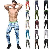 Men's Compression Tights Skin Base Layer Running Basketball Camo Gym Long Pants