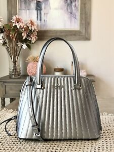 KATE SPADE Small Dome Satchel - Patterson Drive Quilted Anthracite / silver $359