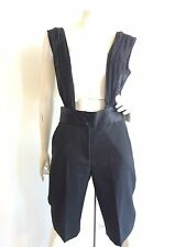 MARC JACOBS CREPE KNEE LENGTH SHORTS WITH CHIFFON SUSPENDERS BLACK SIZE 2