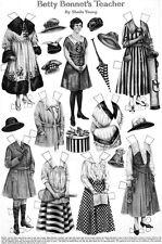 Betty Bonnet's Teacher Paper Doll SHEILA YOUNG Tennis GOLF Original 1917 Page
