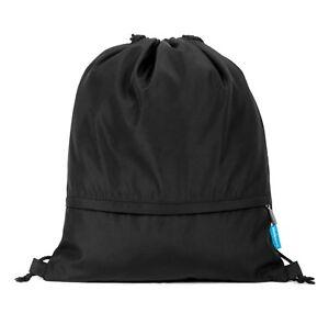 Adjustable Drawstring Bag Gym Backpack Sport Fitness Trip School Black Rucksack