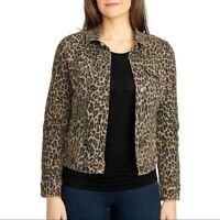 Nine West  Womens Sarah Denim Jean Jacket  Leopard Print Small