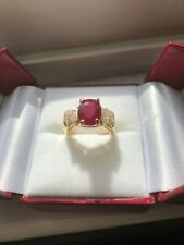 Natural Oval Burmese Ruby & Diamond Ring 14K Yellow Gold