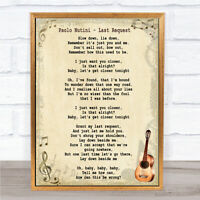 Last Request Song Lyric Vintage Quote Print