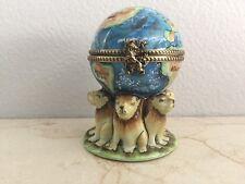 Limoges Box ~ GLOBE w/ LIONS ~ Peint main France ~ RARE VINTAGE Trinket Gift Box