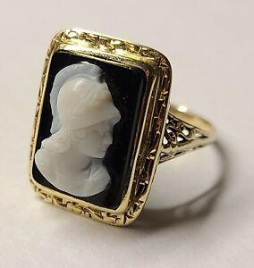 1920's 14k Gold Antique Edwardian Onyx Ring