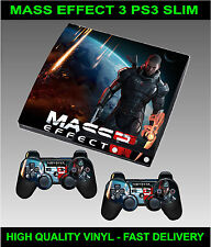 Playstation 3 SLIM Console Sticker Mass Effect 3 Style Skin & 2 X Pad Skins