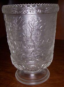 FENTON Art Glass Currier & Ives white carnival glass CELERY VASE signed