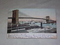 VINTAGE 1906 BROOKLYN BRIDGE NY    POSTCARD