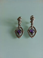 GORGEOUS JUDITH RIPKA AMETHYST CABOCHON DROP DANGLE PIERCED LOTUS EARRINGS