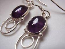 New Amethyst Hoop Dangle 925 Silver Earrings India
