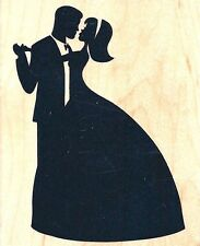 "Silhouette of Couple Dancing ~ Prom ~ 2 1/2"" x 3"" ~ Recollections Rubber Stamp"