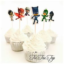 🐱12x PJ Masks Cupcake Food Topper Pick. Party Supplies Lolly Loot Bag Jelly Cup