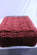 Laura Ashley Astor Striped Plush Chenille 2-Piece Bath Mats Rugs Coral