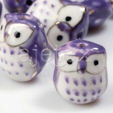 10pcs Porcelain Ceramic Owl Charm Pendant Beads Craft 17x15mm Purple Pb0012