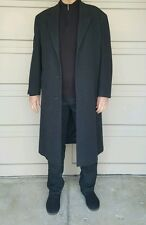 Andrew Fezza Mens 40R Italian Cashmere Long Dark Gray Trench Over Coat
