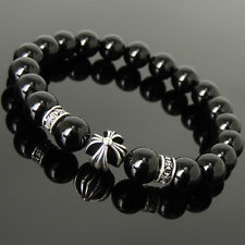 Men's Women 10mm Black Onyx Bracelet 925 Sterling Silver Cross Bead Spacers 1089