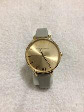 Olivia Burton Big Gold Dial Leather Grey Strap Watch
