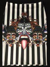 Striped Native Comic Stretch Pencil Skirt Size L 12 New