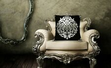 Embroidered Black White Decorative Cushion Cover with Insert 42x42cm-Sofa Decor