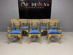 Amazing Set of 8 Beautiful Gold Grand Chippendale style dining chairs