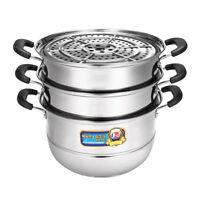 28/32cm 3 Tier Stainless Steel Steamer Cookware Steam Pot Set Kitchen Cooking