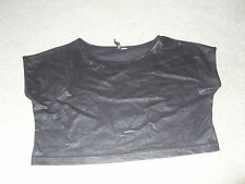 H&M Divided - black suede feel crop top - size 10