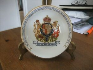 Superb Commemorative Pin Dish To Celebrate 95th Birthday Queen Mother By Aynsley