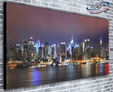 New York Lights at Night Panoramic Canvas Print XXL 4.5 ft wide x 2 ft high