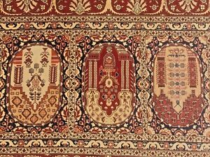 "Very fine signed Turkish Hereke rug %100 Silk 2'1""x3' ~ 625 KPSI"