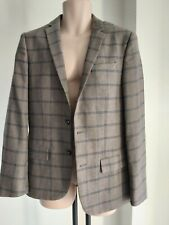 Mens RIVER ISLAND size 40R TWEED country style BLAZER tan brown navy check FREEP