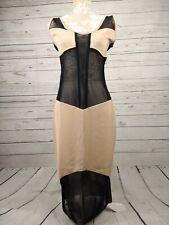 Lisa Jayne Dann LJD Sheer Netted Bodycon Panel Dress Black Camel Size UK 10