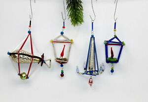 Antique Christmas ornaments made of glass beads and sticks.lanterns,chandelier