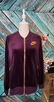 Nike Sportswear Womens Full Zip Embroidered Velour Jacket Size Small Port Wine