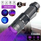 2Pcs UV Ultraviolet Flashlight Black Light 395nm 365nm Detector Urine Pet Stains