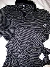 Footjoy Black White Embroidered Logo Golf Shirt-Polished Logo Buttons-Ln- L