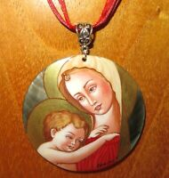 Pendant MADONNA and CHILD JESUS Filippo Lippi Russian Hand painted SHELL signed
