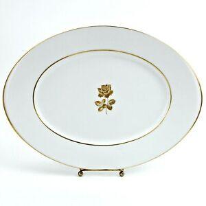 "Sango Gold Rose Fine China White Oval Serving Platter Dish 14"" Japan"