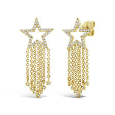 0.26 CT 14K Yellow Gold Natural Real Round Cut Diamond Fringe Star Stud Earrings