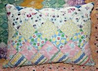 NEW Lumbar Pillow Made From Vintage 1930's Postage Stamp Handmade Quilt PS1216-A