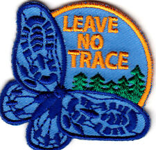 """""""LEAVE NO TRACE"""" - CAMPING - FOREST - OUTDOORS - Iron On Embroidered Patch"""