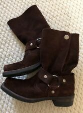 Sendra Spain-Brown Suede Biker Boots-Sz.7.5