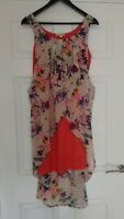 Frock and Frill Ladies Dipped Hem Floral Pink Dress UK Size 16