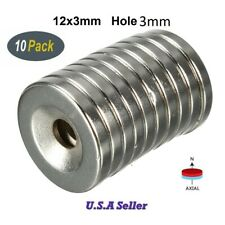 "10PC Countersunk Neodymium Ring Magnets 12mmx3mm Hole3mm 1/2""x1/8"" Fridge Magnet"