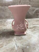 Vintage 1940's Matte Pink McCoy Pottery 2 Handled Leaf Pattern Vase Flowers