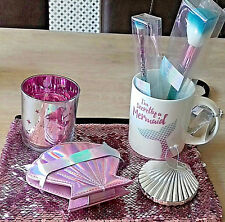 ,Mermaid Mug 2 Make Up Brushes Cosmetic Bag Mirror Tea Light Manicure Gift Set.