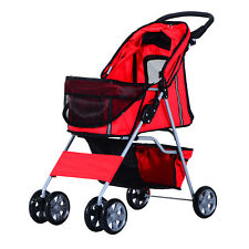 PawHut Dogs 600D Oxford Cloth Pram Red - Suitable for Small Pets