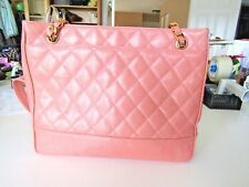 Chanel Salmon Peach Leather  Shopping Tote