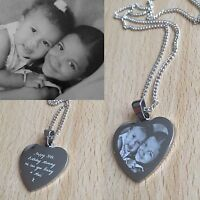 Personalised Photo/Text Engraved Small Heart  Pendant -  Wedding Birthday Gift