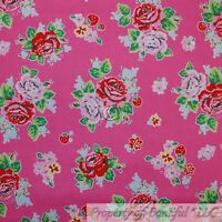 BonEful Fabric FQ Cotton Quilt VTG Pink Red Rose Flower Strawberry Shabby Chic L